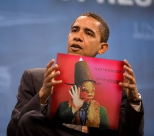 "Barack Obama, with a copy of ""Trout Mask Replica"""